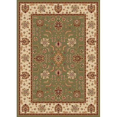 "Home Dynamix Madlena Green / Ivory Oriental Rug Rug Size: Heart 23"" x 39"""