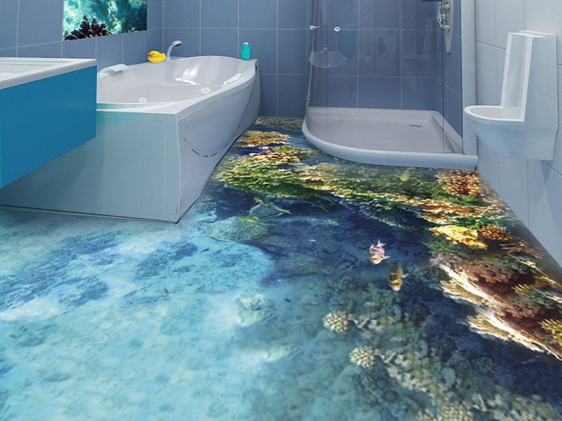 3d Flooring With Epoxy Paint Makes Your Bathroom Like Ocean