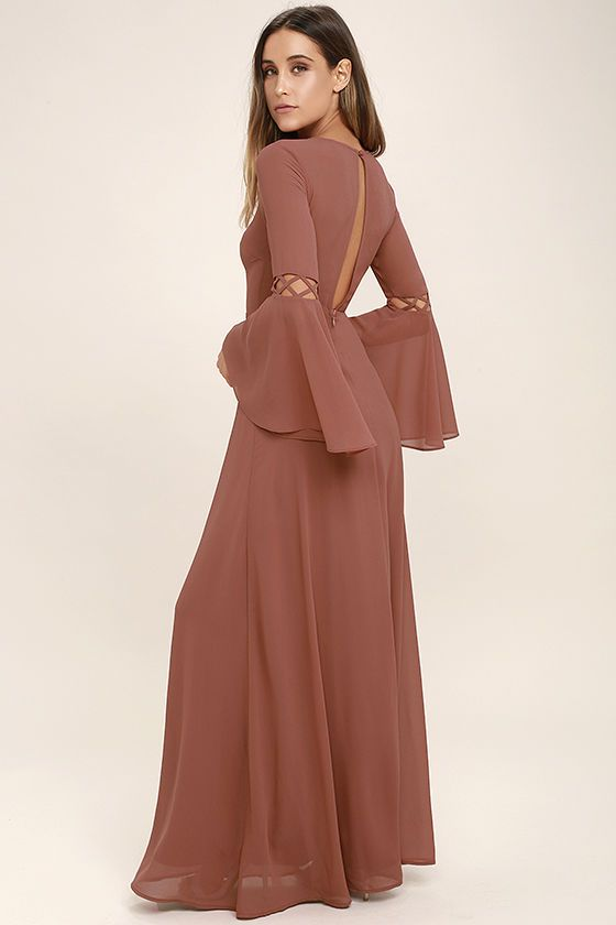 5707c4b2bc98b The Fairest Maiden Rusty Rose Long Sleeve Maxi Dress will transport you to  days gone by! Lightweight chiffon shapes a rounded neckline atop a darted  bodice ...