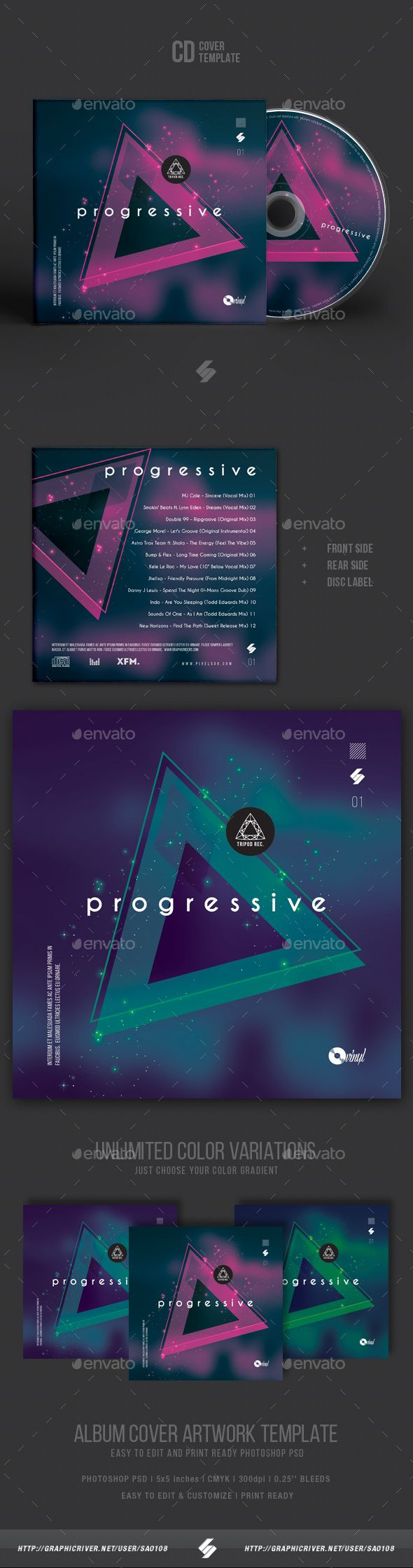 CD / DVD album cover artwork template for DJs and producers