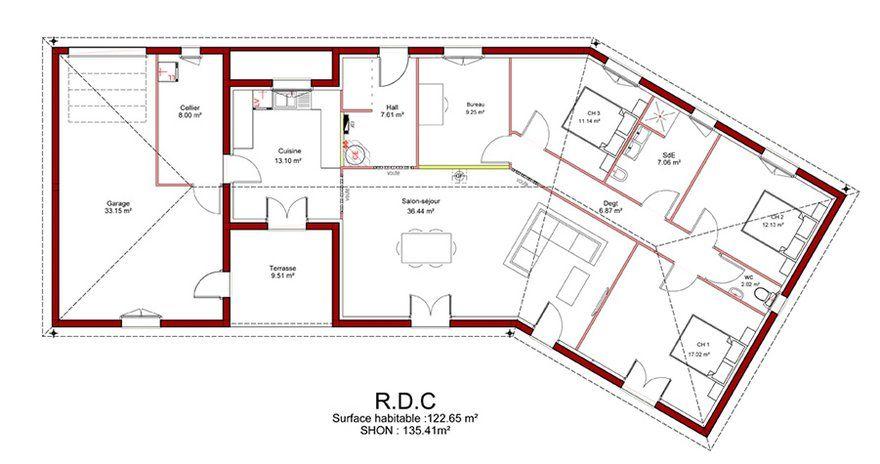 Plan De Maison Plein Pied En V Architecture Pinterest