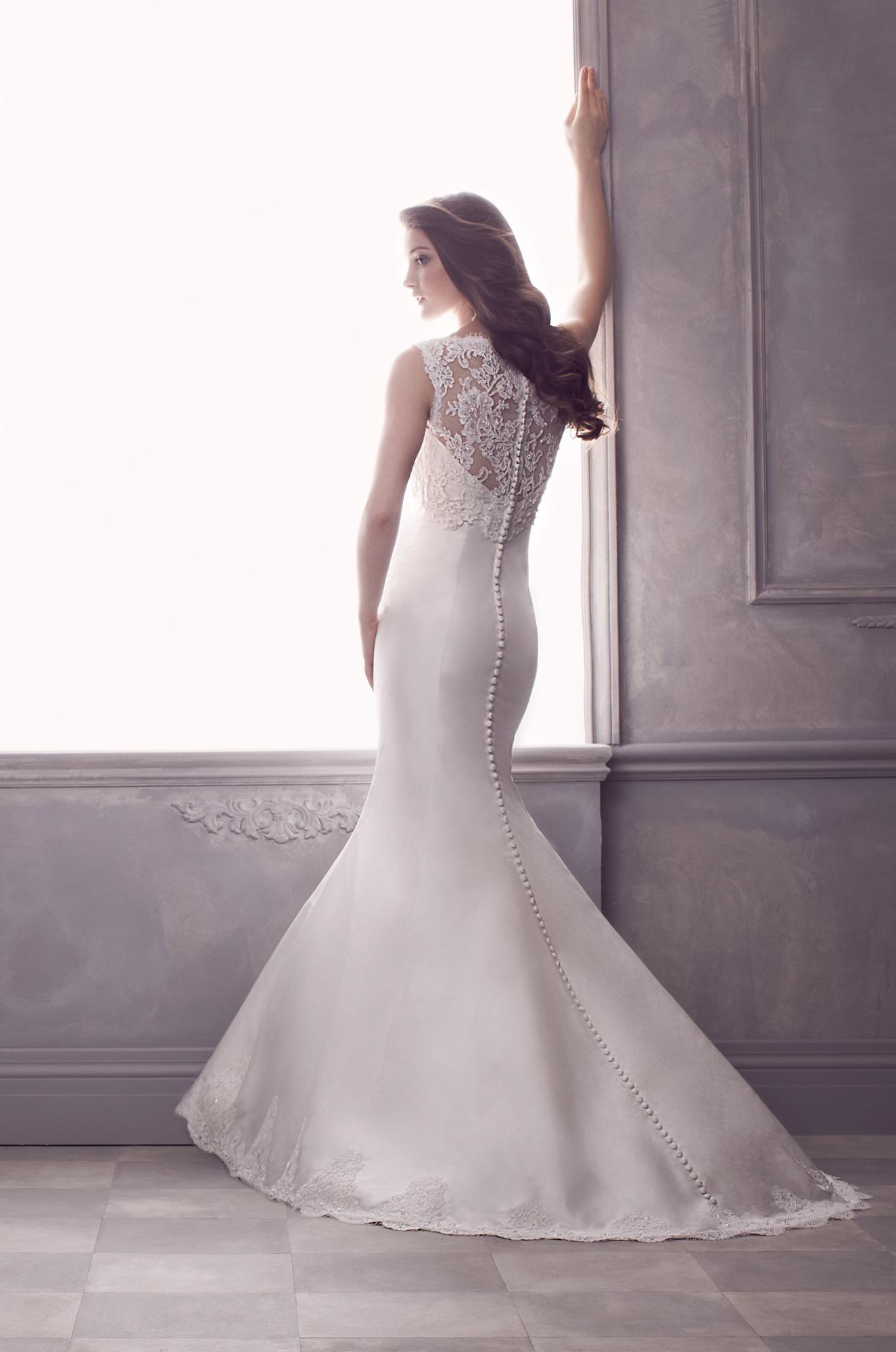 French alençon lace and silk dupioni wedding dress back view beaded