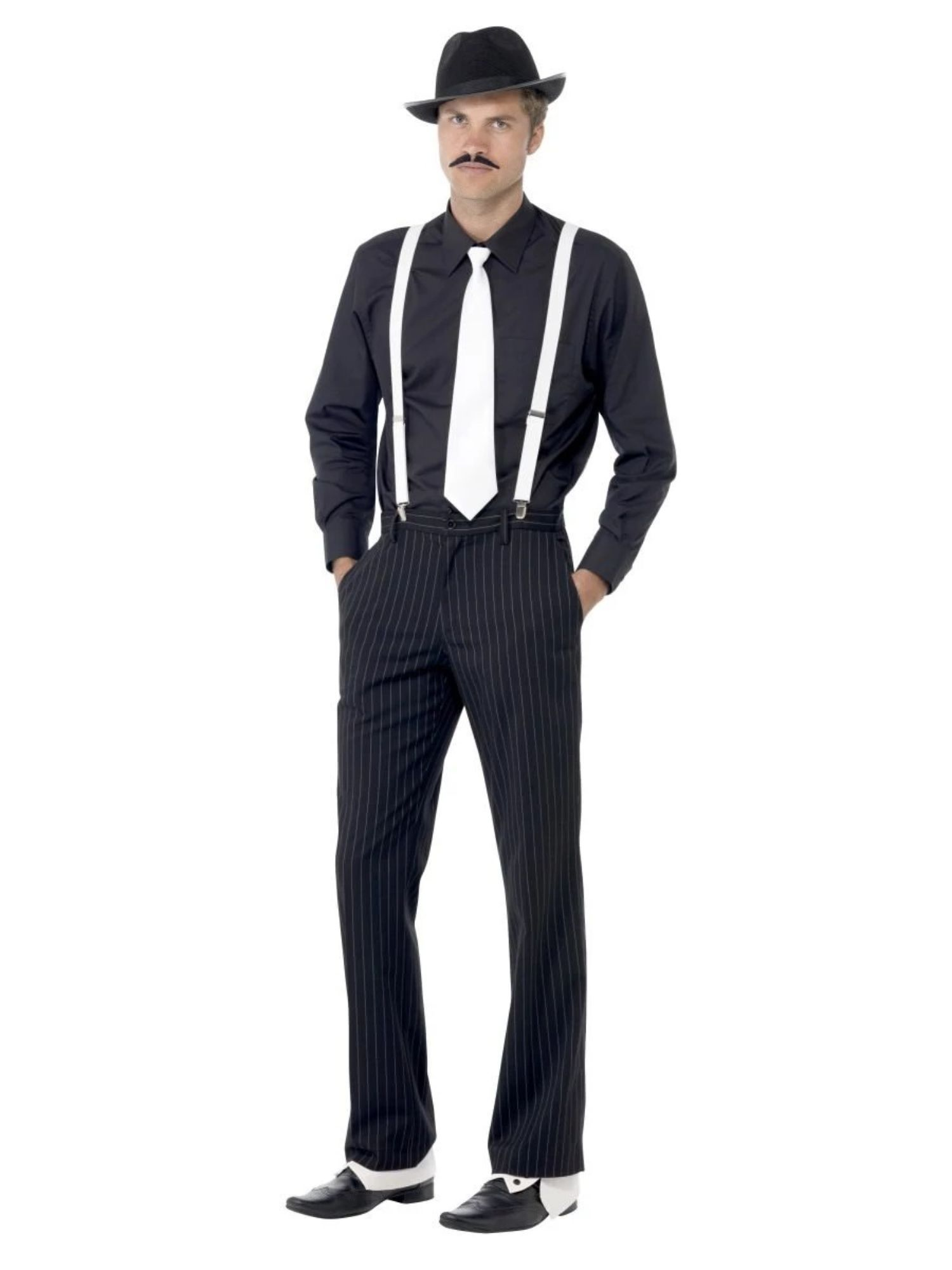 Black White Gangster 1920s Gatsby Party Spats Costume Mens Shoes All Sizes