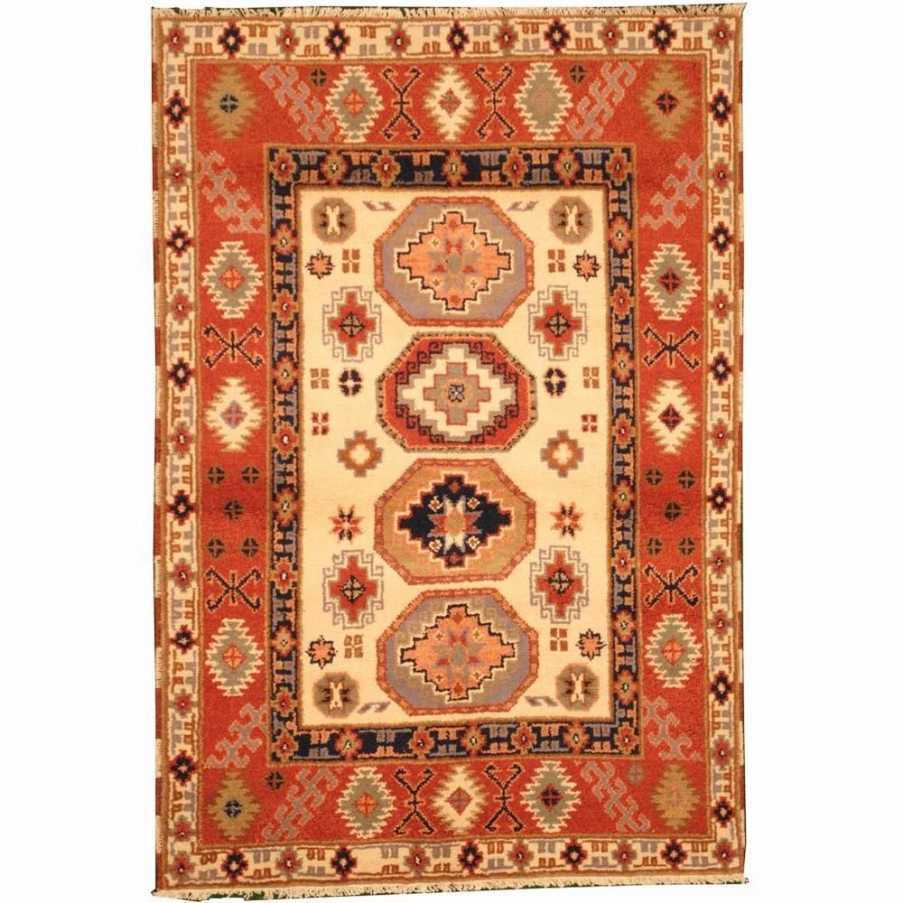 Herat Oriental Indo Hand Knotted Tribal Kazak Ivory Red Wool Rug X Ping Great Deals On Rugs