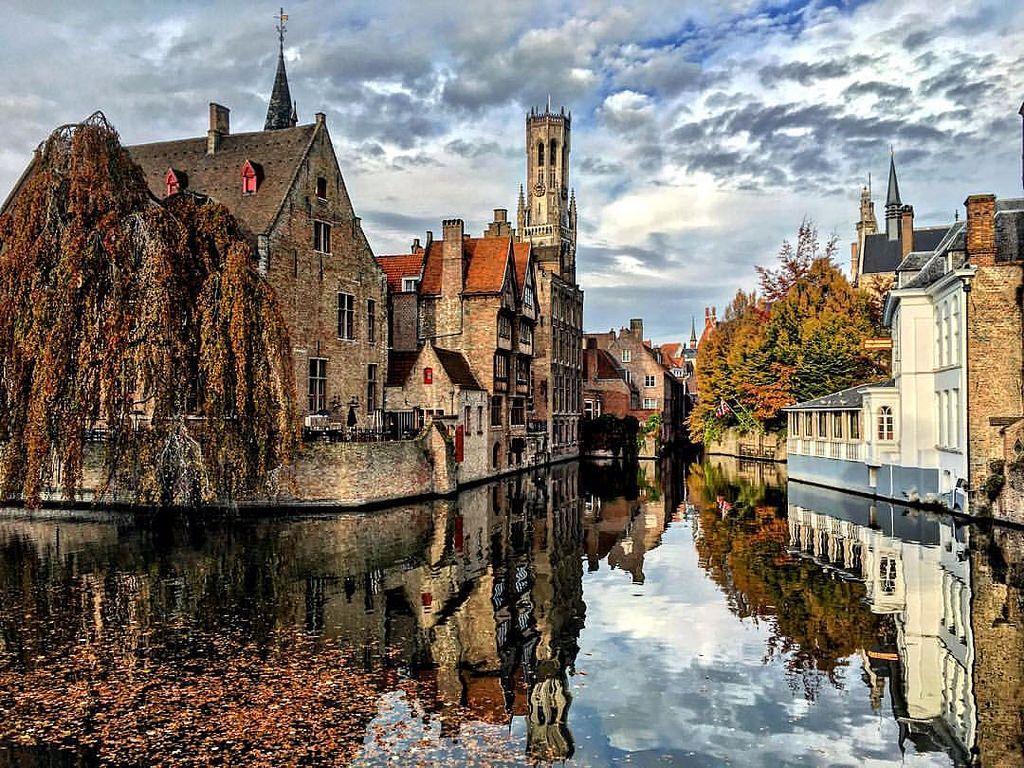 Обои бельгия, брюгге, дома, Вода, осень. Города foto 13