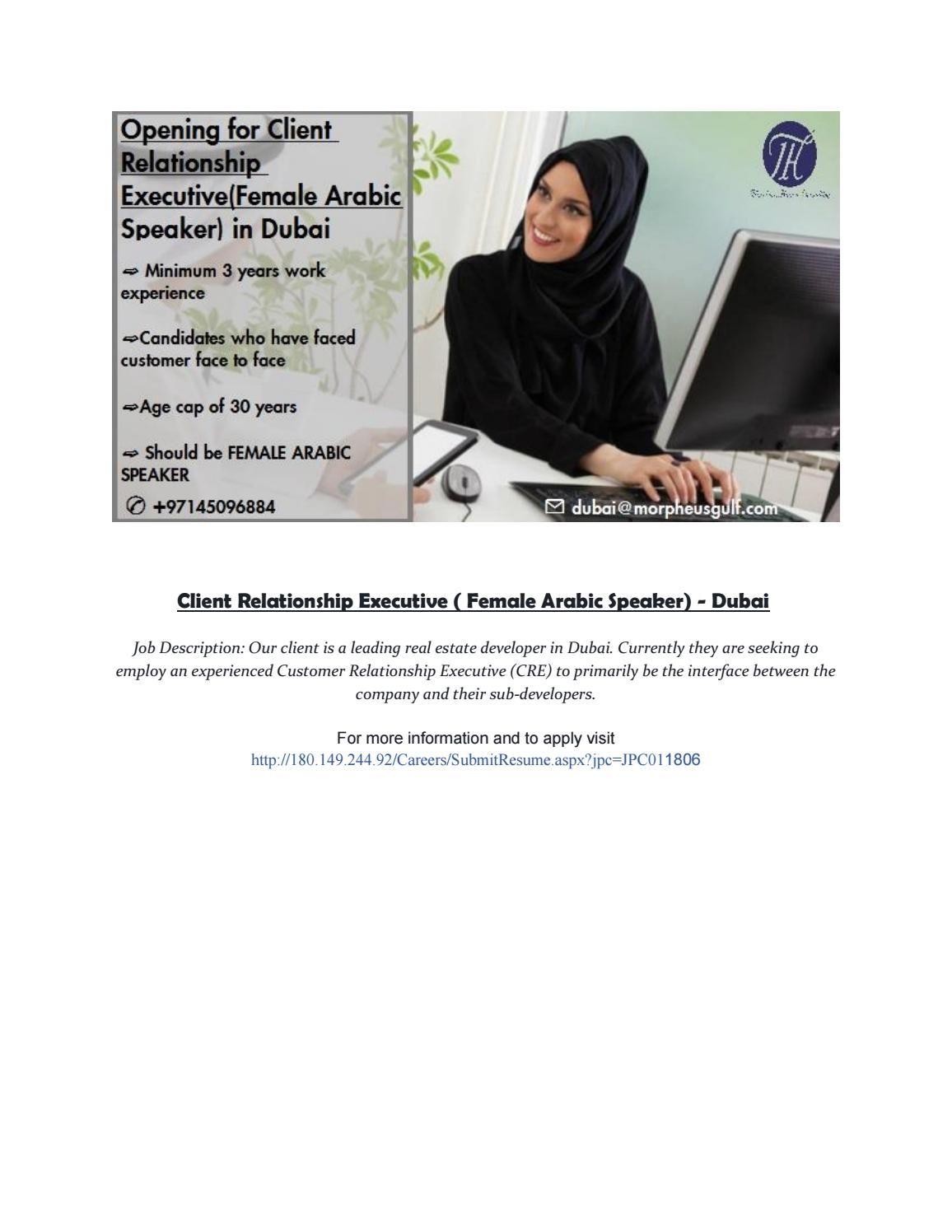 Client Relationship Executive ( Female Arabic Speaker