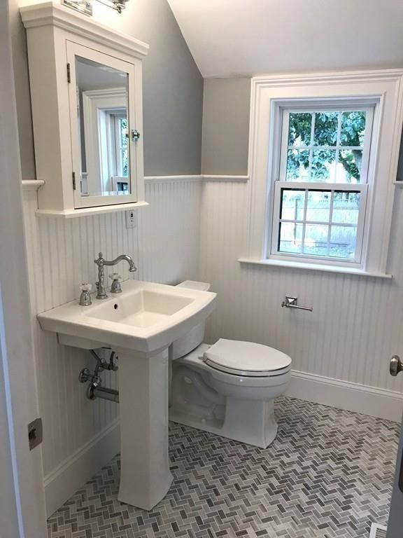 Photo of Herringbone tiled bathroom  #crawfordconstruction #herringbone #tile #bathroom #…