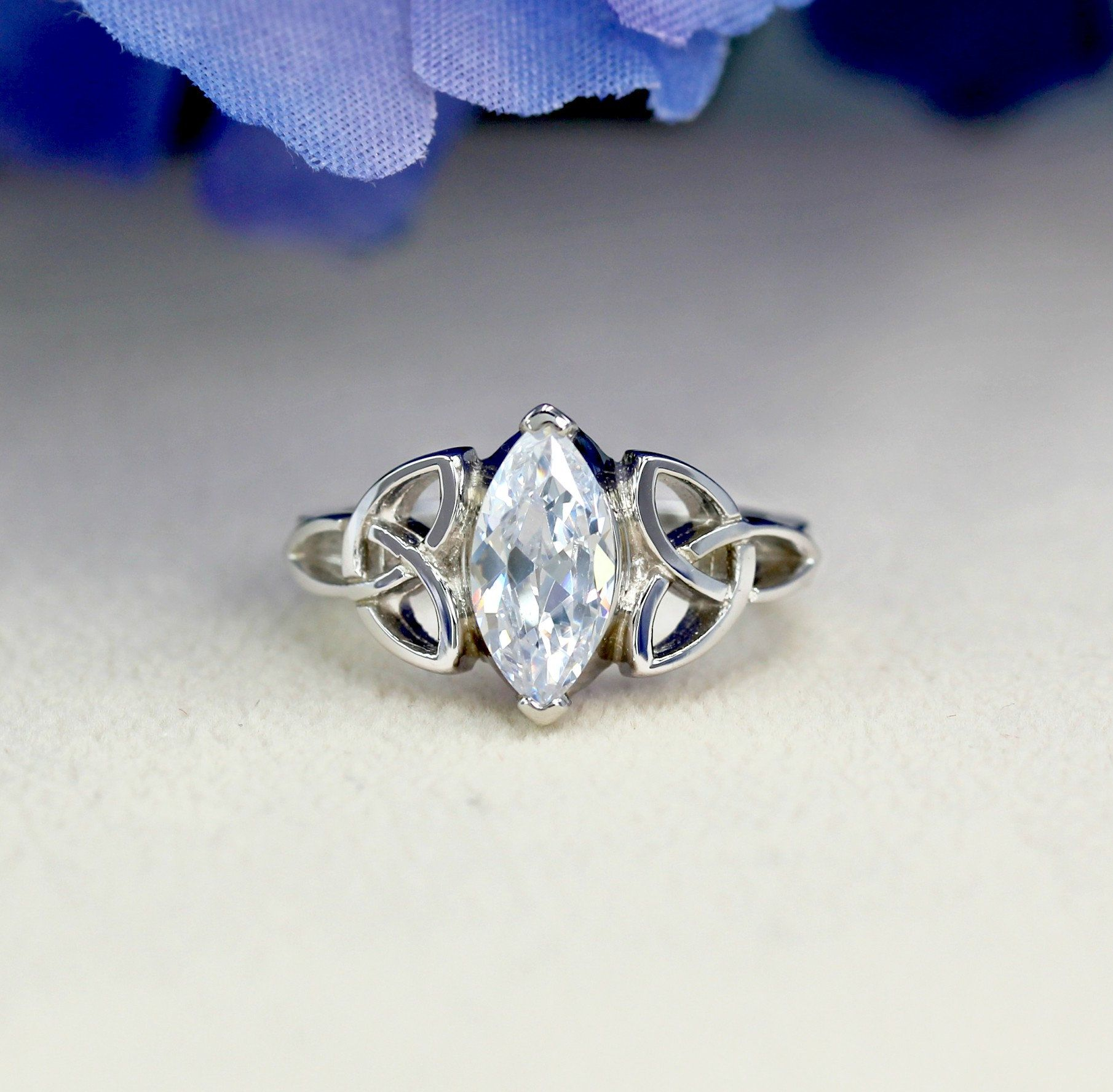 Celtic Knot 1.5ct.Marquise Diamond Simulant Sterling