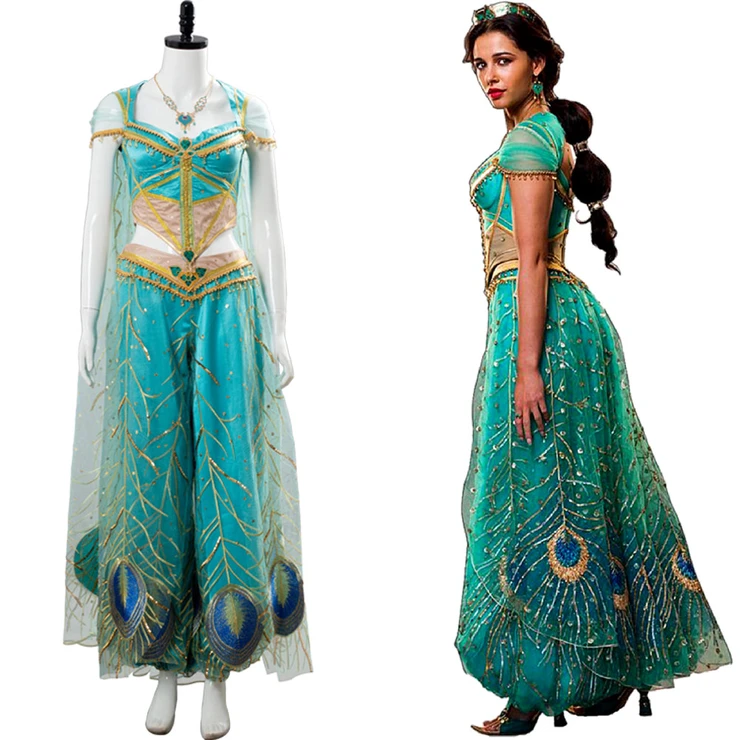 Naomi Scott Cosplay Princess Jasmine Aladdin The Movie Outfit Peacock Cosplay Costume Princess Jasmine Costume Jasmine Costume Blue Dress Outfits