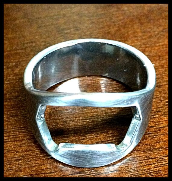 Silver Beer Bottle Opener Ring  Men's by TatteredDesign on Etsy