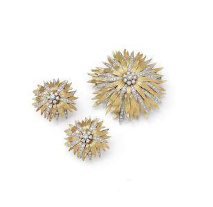 Garrard, circa 1961 gold and diamond brooch and earrings suite Bonhams : Jewellery