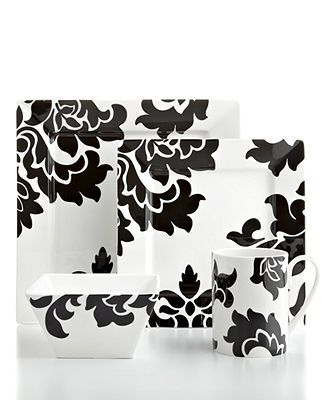 Martha Stewart Collection Dinnerware, Lisbon Black Square 4 Piece Place Setting - Casual Dining - Kitchen - Macy's