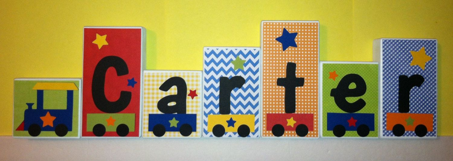 Personalized Wood Blocks - M2M Trains bedding - Baby Room Decor ...