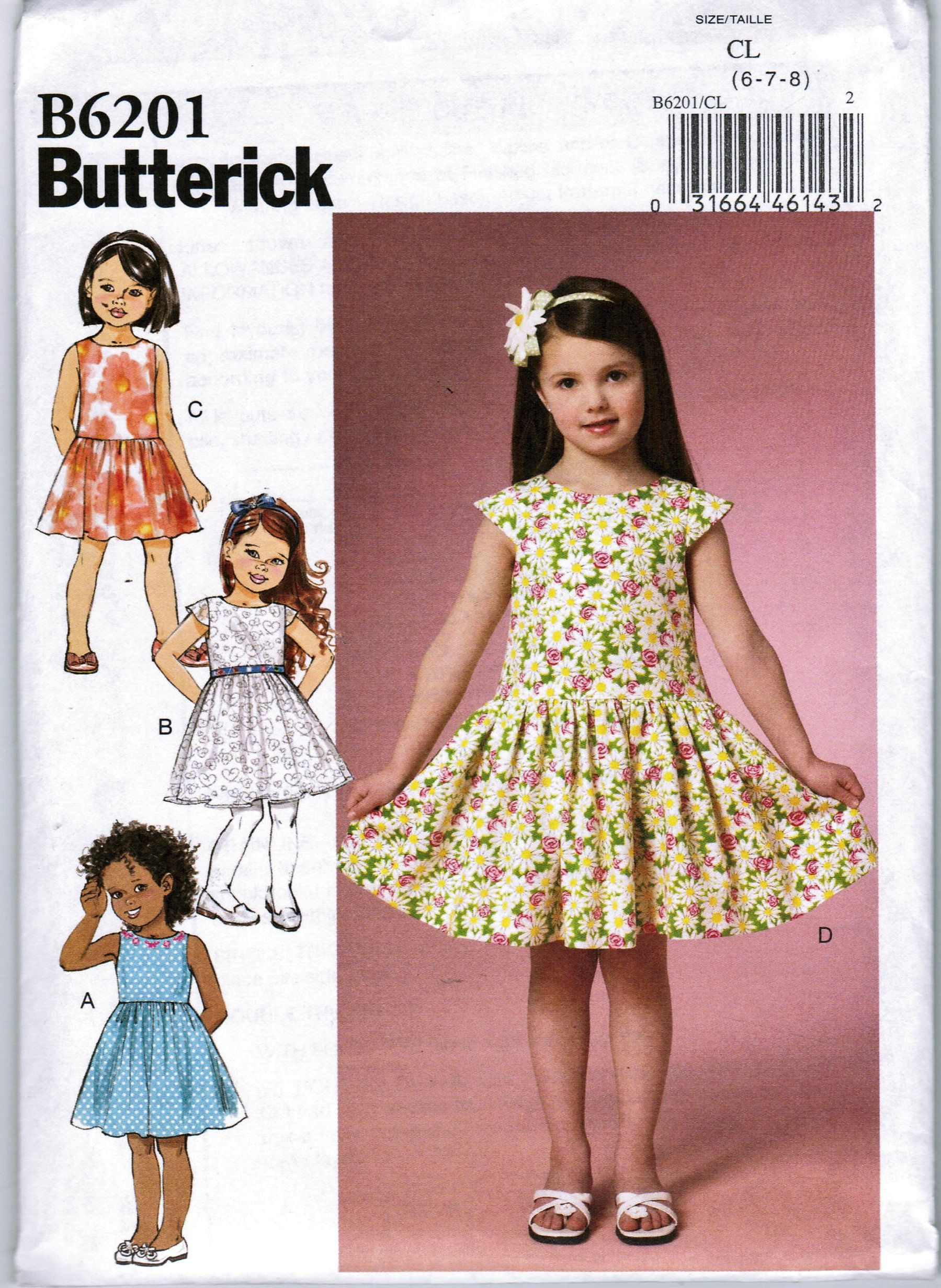6bbf823ccd74 Butterick B6201 Children's Girls Dress Size 6 7 8 Sewing Pattern Partial  Cut by makersmartfinds on Etsy