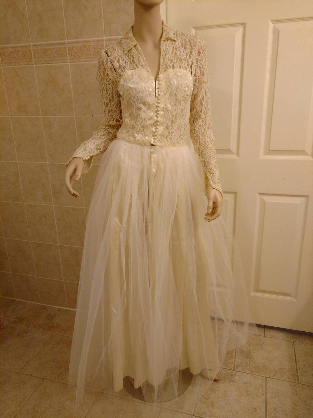 Brown Vintage Lace Floor Length Dresses