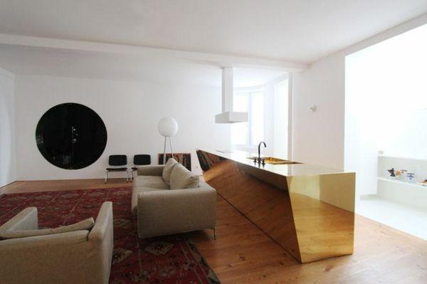 Moderne Küchen mit Kochinsel küchenblock freistehend golden - moderne küchen mit kochinsel