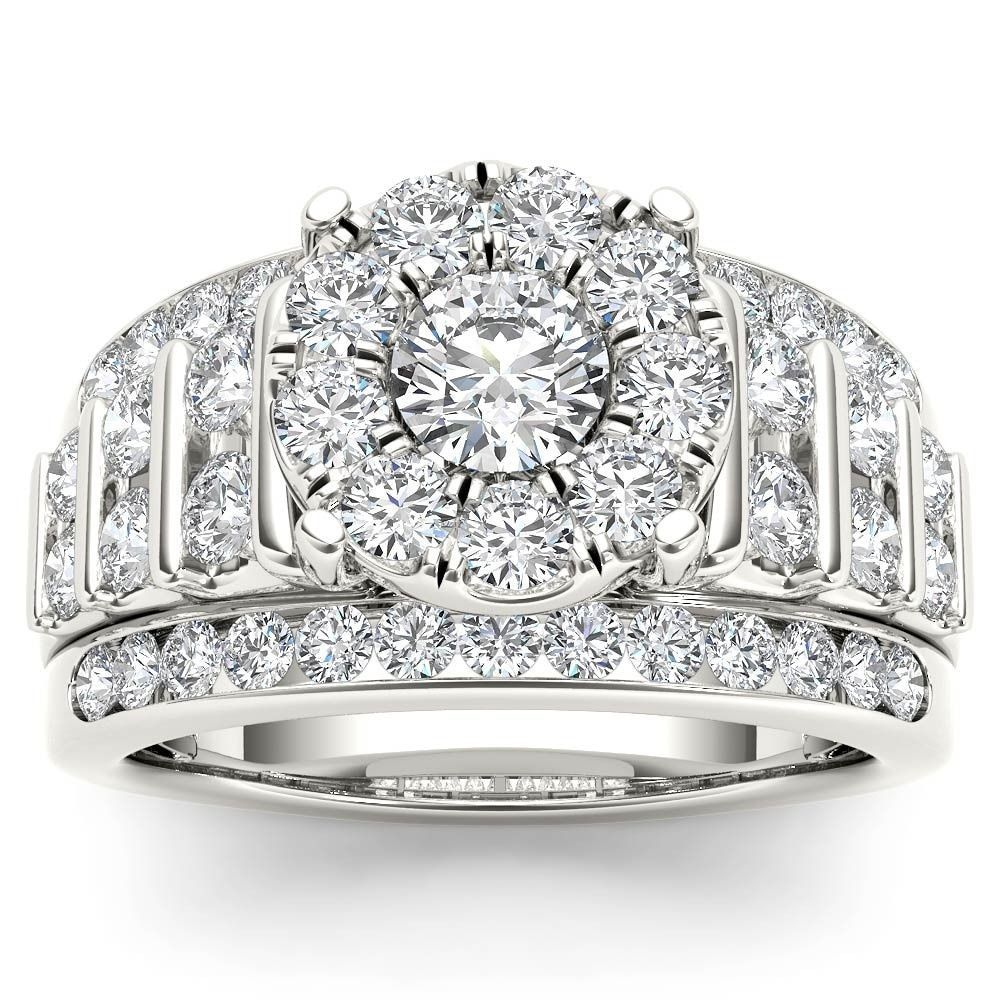 De cour k gold ct tdw pave diamond halo engagement ring