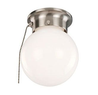 Hampton Bay 8 In 60 Watt Equivalent Brushed Nickel Integrated Led Drum Flush Mount With Pull Chain And Glass Shade Isp8011l 2 The Home Depot Pull Chain Pull Chain Light Fixture Glass Shades