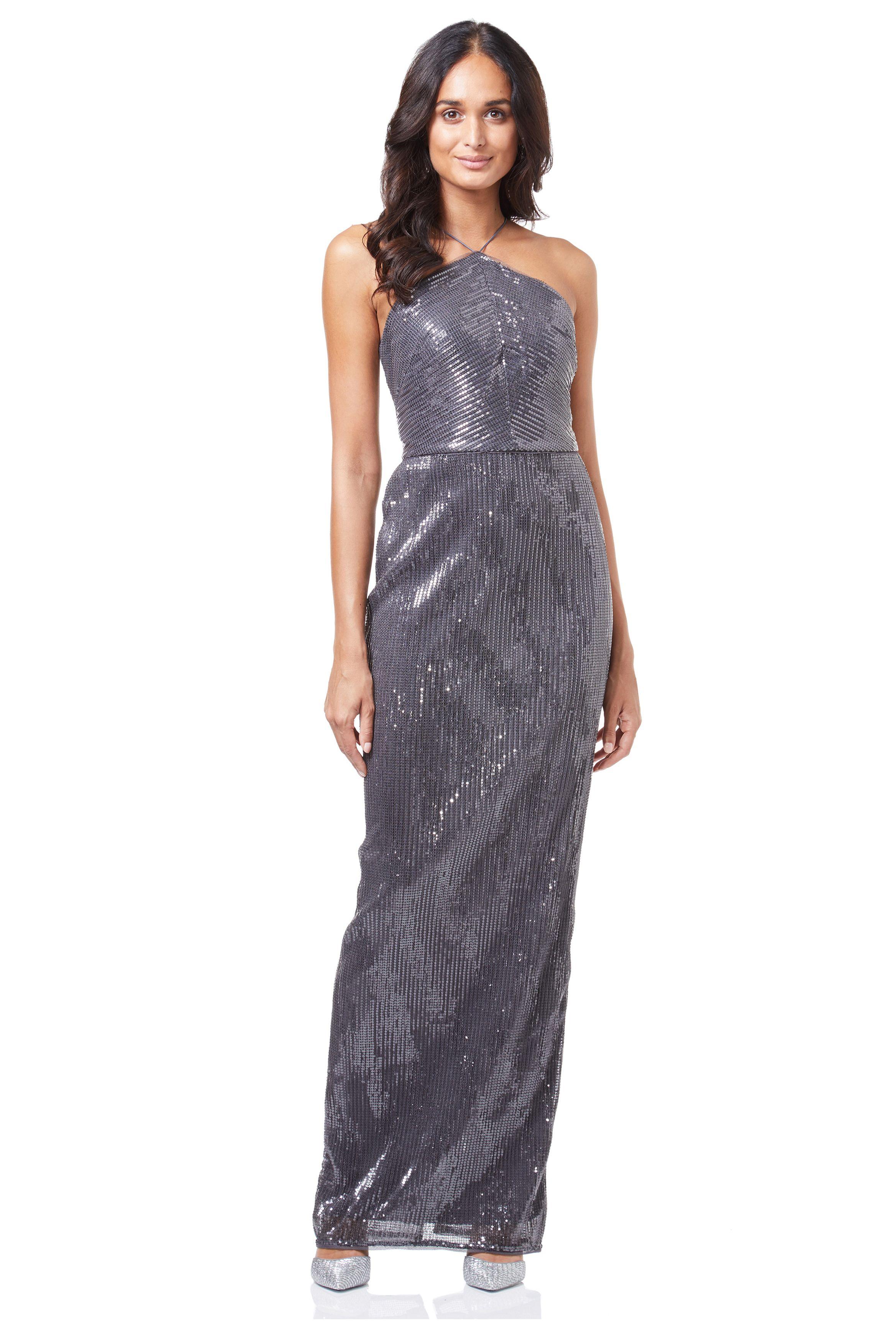 Grey wedding guest dress  Sequin Halter Column Back Slit Evening Dress by Adrianna Papell