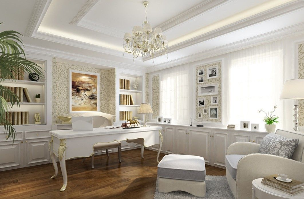 White intereror design white elegant study interior for Interior design living room elegant