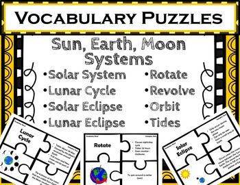 sun earth moon systems vocabulary puzzlesuse these puzzles to provide quick and fun matching practice with sun earth and moon systems vocabulary