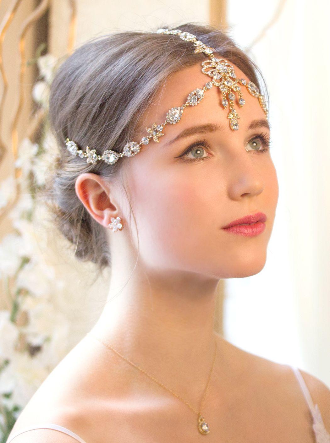 gold swarovski crystal headpiece, art deco bridal 1920s headpiece