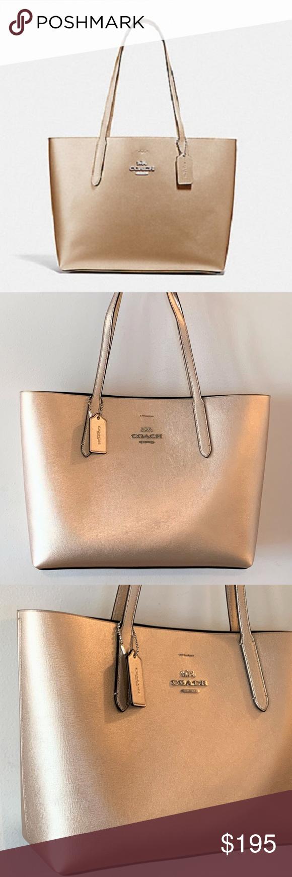 009e1b42f8d COACH Avenue TOTE Bag ~ Metallic Platinum Leather Coach F37871 Avenue Tote Brand  New with Tags