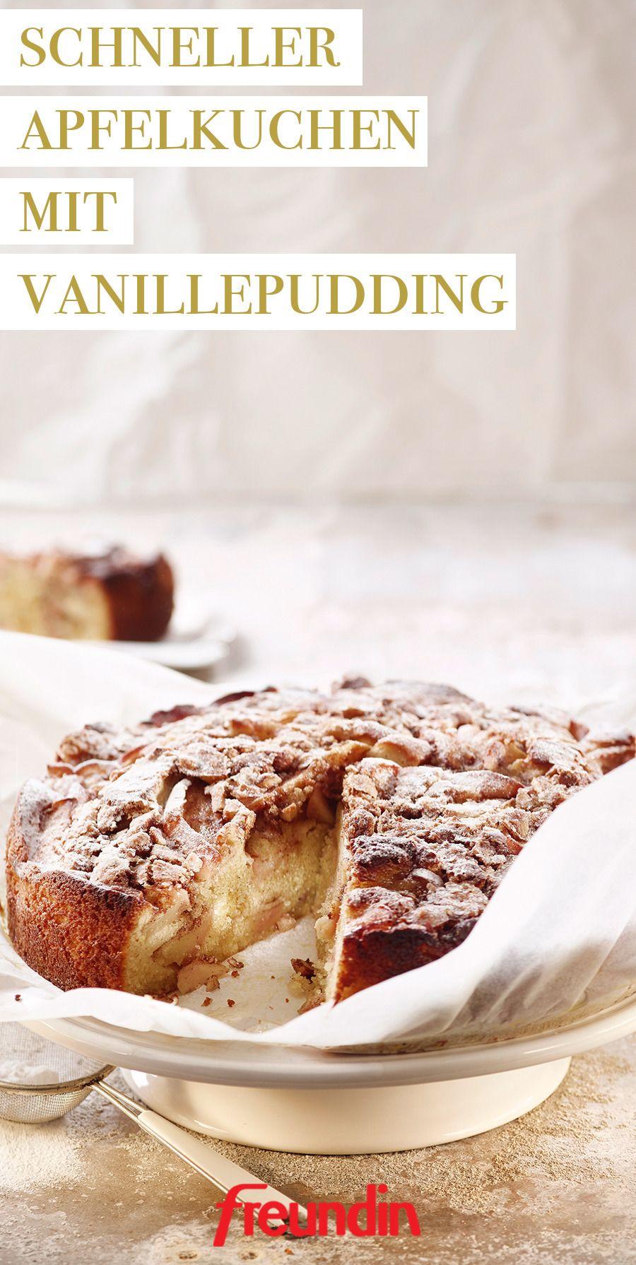 Schnelles Rezept: Apfelkuchen mit Vanillepudding | freundin.de #schnellerezeptemittagessen
