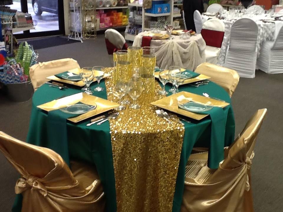 Emerald duchess satin, hollywood sequin gold runner, gold