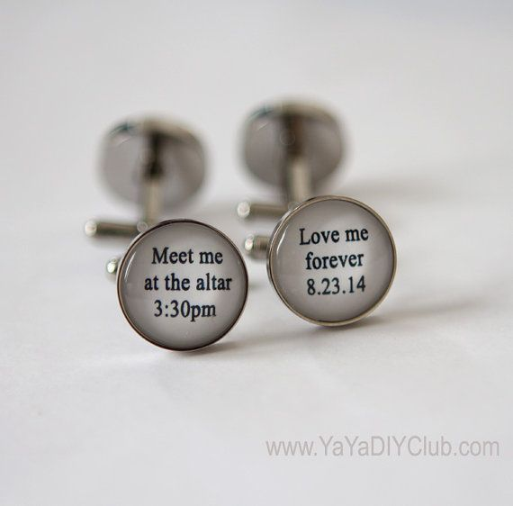 Personalized Wedding Cufflinks Father of the Bride Cuff Links Aluminum Cuff Links