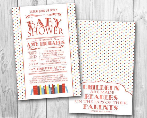 Awesome Book Themed Baby Shower Invitation  Primary Colors (DIGITAL FILE ONLY)