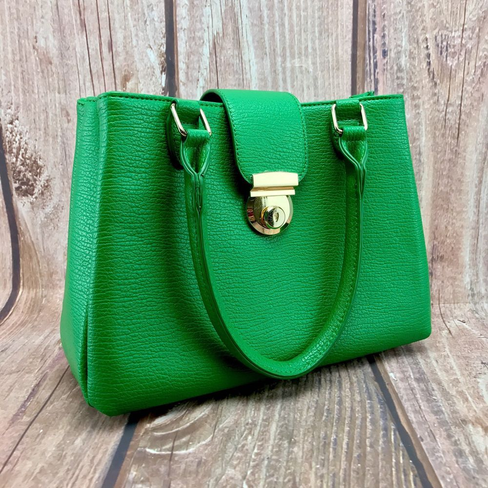 Las Handbag Tu Sainsburys Dark Green Used Once 3 Compartments One Zip Up