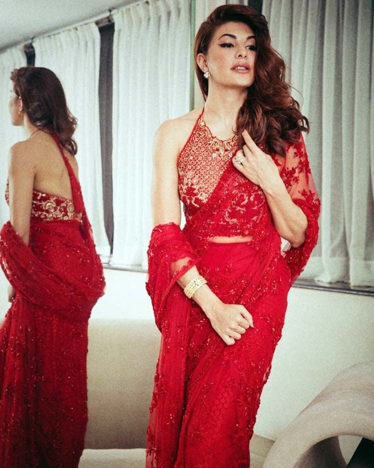 18a12d6904 Jacqueline Fernandez hot in red saree