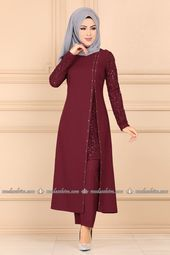 Photo of Sequined Sequined Islamic Evening Dress ASM2182 Claret Red Sequined Muslim Evening Dress …