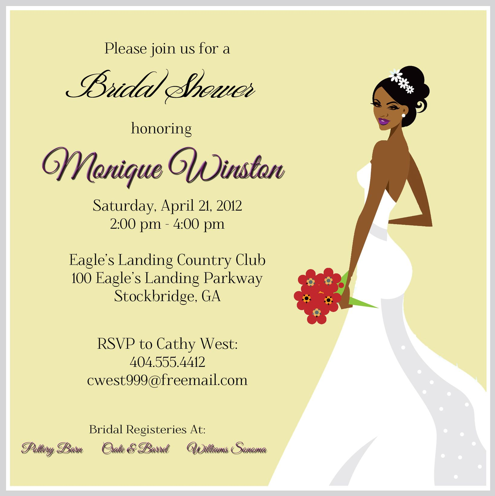 Afrocentric Bridal Shower Invitation WedWed Pinterest Shower