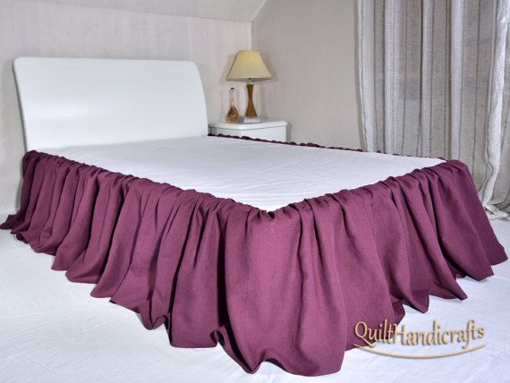 Linen Bed Skirt Drop Length 16 18 20 22 Custom Dust Ruffle In Full Queen King Ruffled Gathered Bedskirt Cottage Shabby Vintage Style