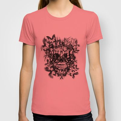 Borderline skull, skull illustration made of faces and bodies. Walk the Line. T-shirt by Kristy Patterson Design - $18.00