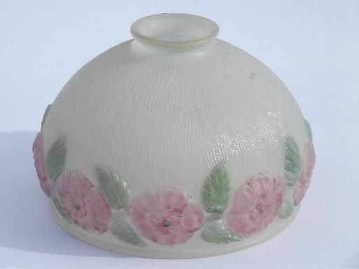 Pink Roses Puffy Glass Lamp Shade, Antique Vintage Replacement Lampshade