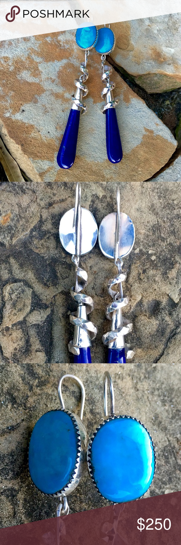 """4.25"""" Sterling Lapis & Turquoise Dangle Earrings Hand Wrought in Sterling by Spanish Master Carver Silversmith Francisco Gomez, these STUNNING! 4 1/4"""" """"Twirling and Dangling"""" Turquoise & Lapis Masterpieces are like none other! Fish hook style, with a Saw Tooth Bezel set 16x20mm Turquoise Cab on top, with """"Diamond"""" shaped hammered twirling Silver over a hook & Silver cone holding the 12x40mm Polished Lapis Pendulum. WOW!! 25g Francisco Gomez Jewelry Earrings"""