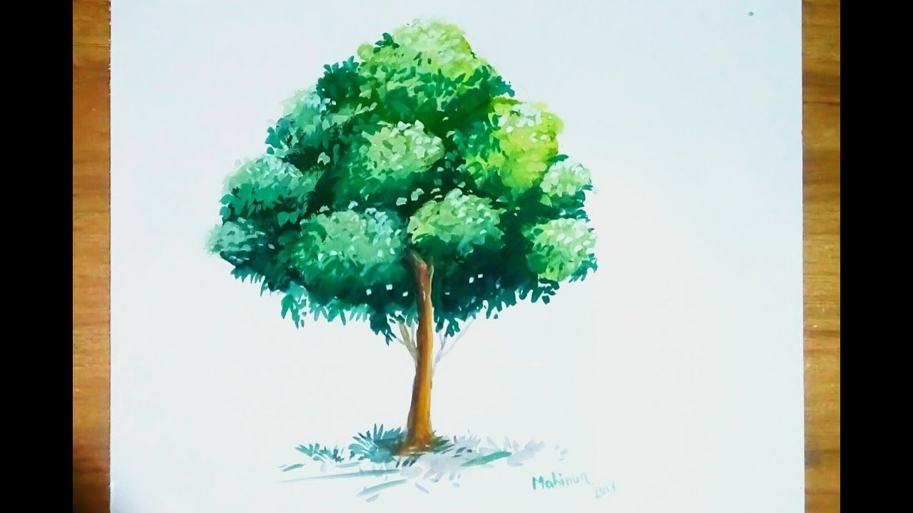Poster Color Painting Beautiful Tree Step By Step Youtube