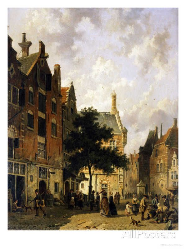 A Street Scene with Numerous Figures by Adrianus Eversen , Dutch painter