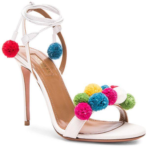0b725dc4eddd8 Aquazzura Pom Pom Heels ❤ liked on Polyvore featuring shoes, pumps ...