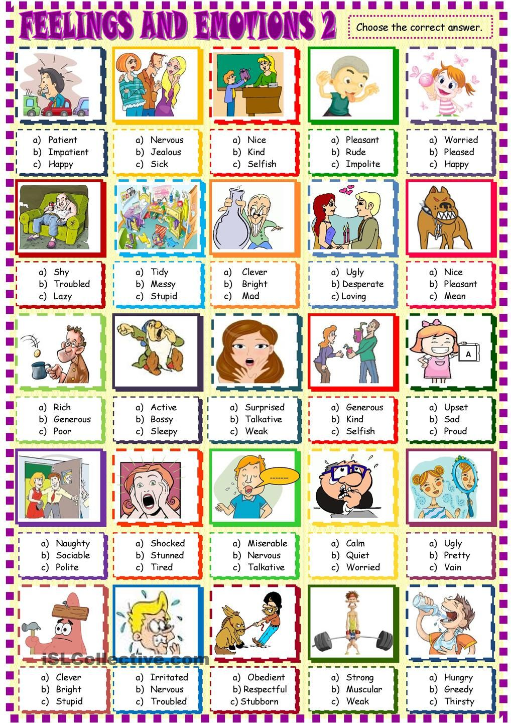 Feelings and emotions multiple choice activity2 | Sentimientos y ...