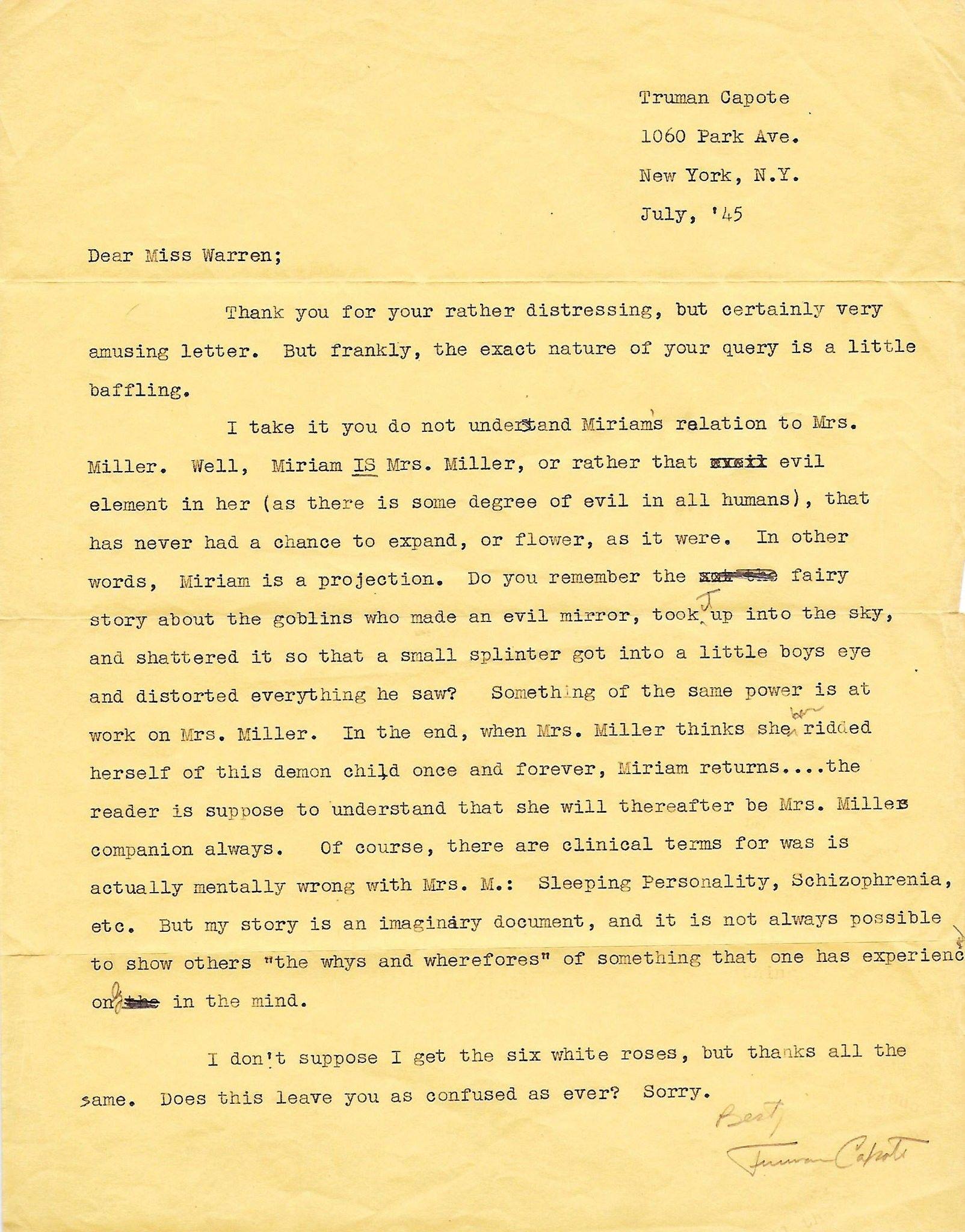 Dear Reader You Misunderstood My Story Signed Truman Capote Truman Capote Capote Truman