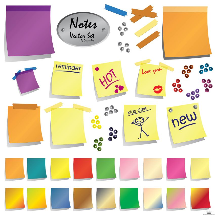 post it note presentation creative elements for powerpoint