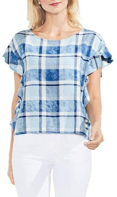 69b1ca86ee0fb Vince Camuto | Indigo Plaid Flutter Sleeve Blouse | Products | Tops ...