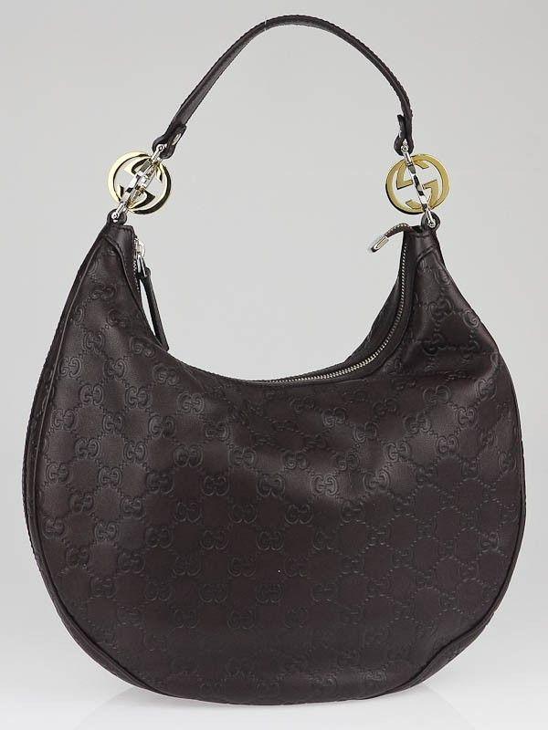 Gucci Dark Brown Guccissima Leather Gg Twins Medium Hobo Bag