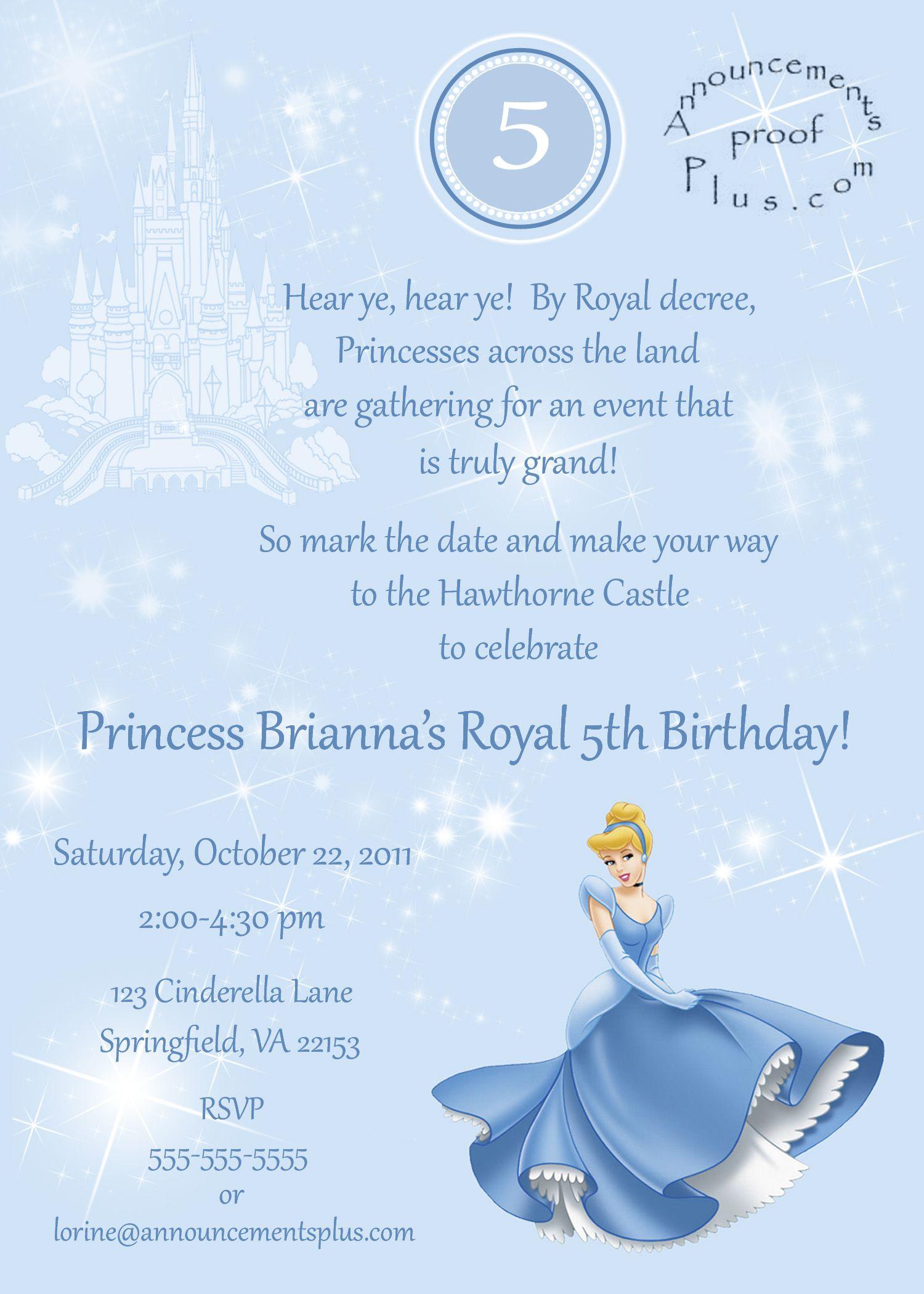 Cinderella Birthday Invitations! | Birthdays | Pinterest | Birthdays ...