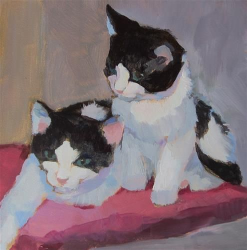 DPW Fine Art Friendly Auctions - Black and White Kittens by Kaethe Bealer, GATOS!