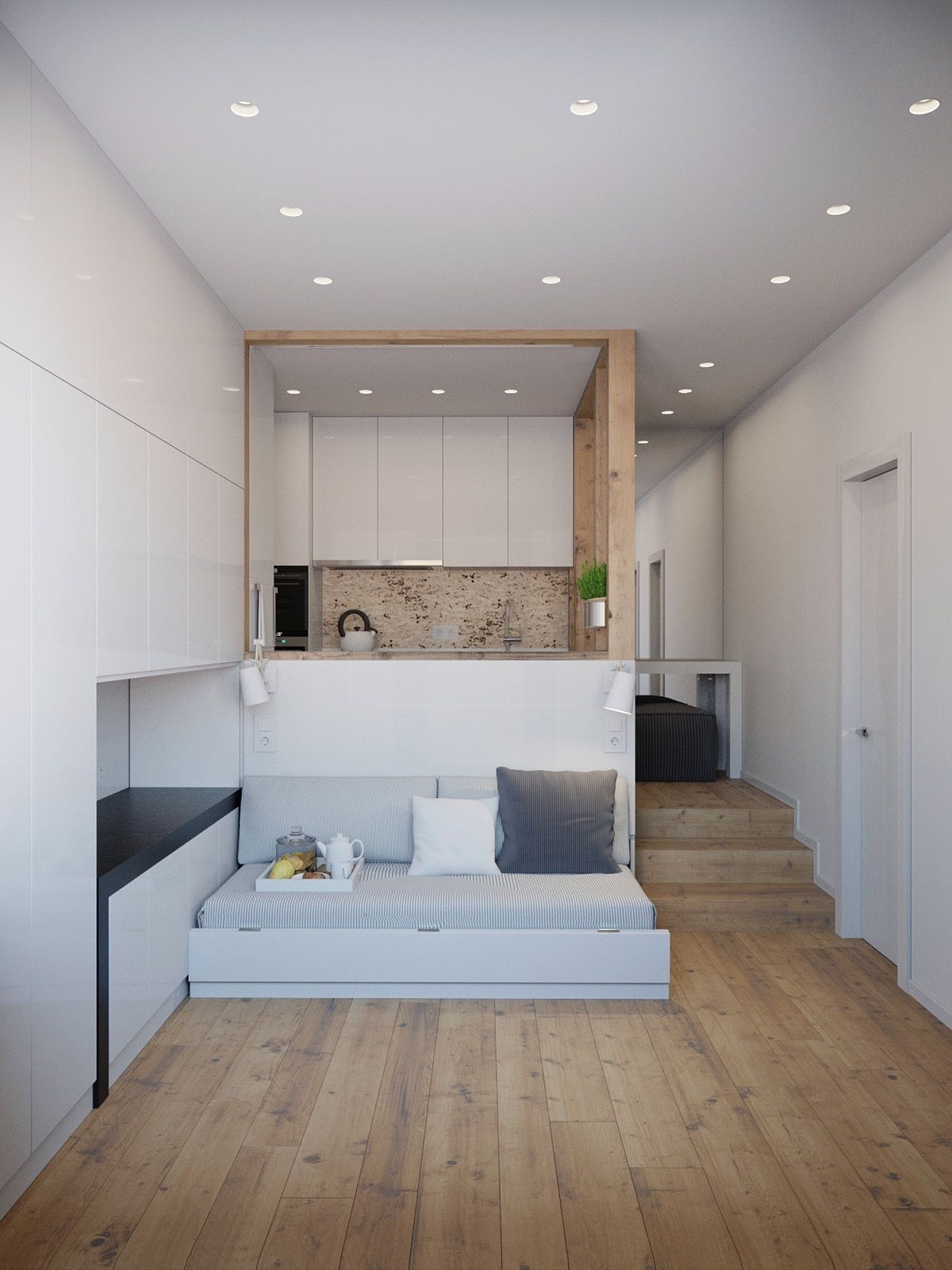 Our final living space coming in at 25sqm is a truly innovative use of space white walled interiors showcase a kitchen and living space with the kitchen